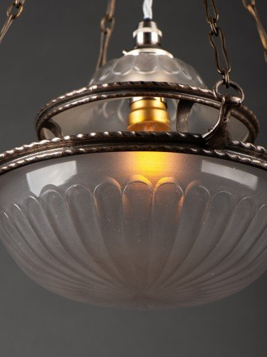 antique lighting stunning completely original osler glass pendant with decorative motifs bottom detail