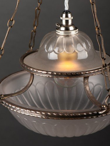 antique lighting stunning completely original osler glass pendant with decorative motifs above