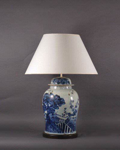 Blue Ceramic Vase Table Lamp, Upcycled Vintage Retro Lighting