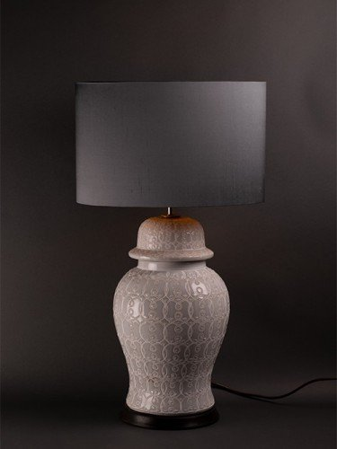 White Temple Jar Table Lamp, Vintage Retro Lighting