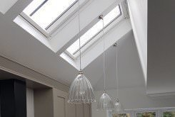 sloping, ceiling, kitchen, lighting, contemporary, pendant, installation