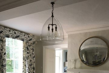 designer, light, glass, ceiling, pendant, 3, bulbs, centre, Ledbury