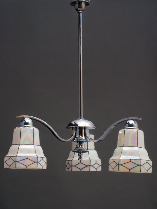 Chrome Art Deco Chandelier with Opalescent shades