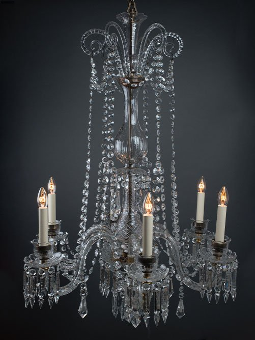 PAIR of substantial English crystal chandeliers, circa 1900.