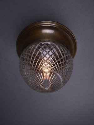 Flush to ceiling cut crystal plafonnier