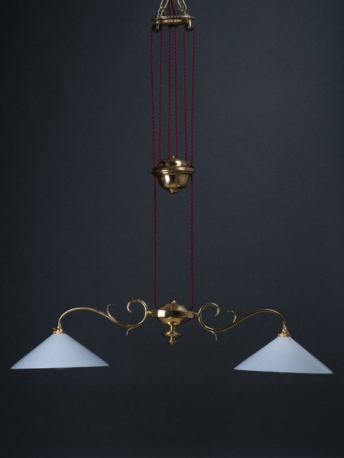 Brass Rise And Fall Pendant Ceiling Light Double Coolie Antique Faraday And Son Hay Vintage