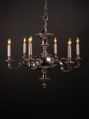 6 Branch Silver Plated Chandelier
