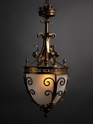 Antique Gilt Lantern with frosted glass.