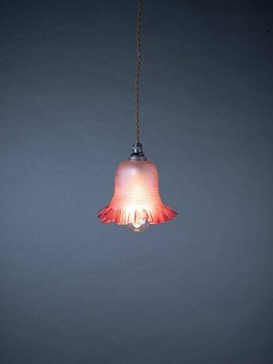 Frilled Glass Cranberry Pendant Light