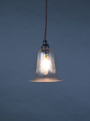 Antique etched glass pendant light
