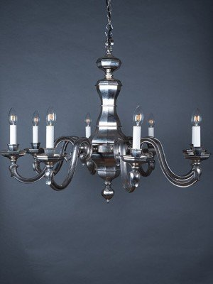 8 Branch aged nickel metal chandelier