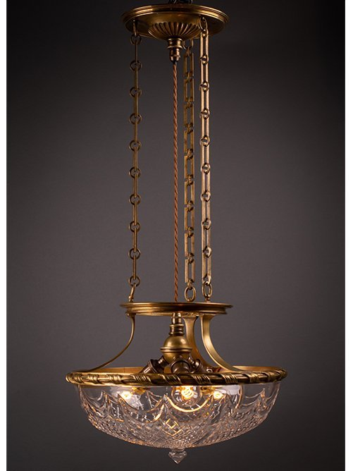 Stunning F&C Osler Plaffonier with original glass bowl and Finial.
