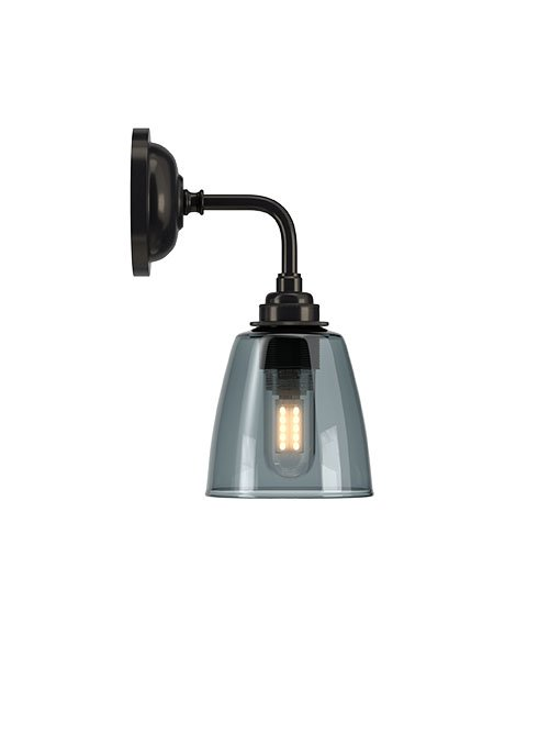 Smoked Glass Bathroom Wall Light Ip44 Pixley Industrial Modern Designer Contemporary Retro Style