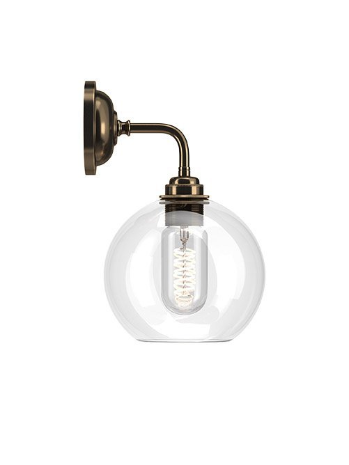 Contemporary Wall Light With Clear Hereford Glass Globe Shade