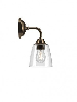 Contemporary wall light with Pixley Clear Glass Shade
