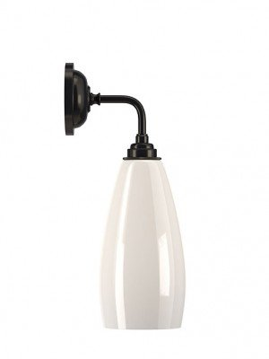 Upton White Glass Contemporary Bathroom Wall Light