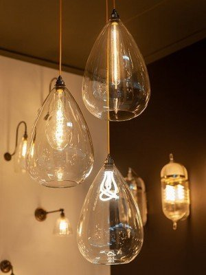 Clear glass Wellington Pendant light as seen at 100% Design
