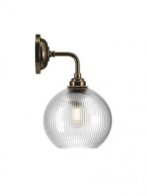 Hereford Skinny Ribbed Glass Globe Contemporary Bathroom Wall Light