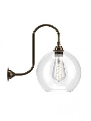 Hereford Clear Glass Swan Neck Wall Light
