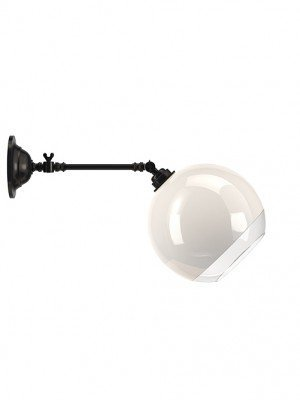 Adjustable White Glass with Clear Rim Globe Reading Light
