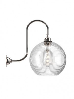 Hereford Skinny Ribbed Glass Globe Swan Neck Wall Light