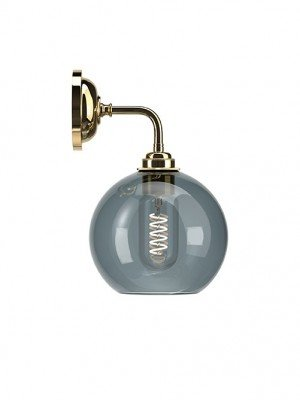 Contemporary Wall Light With Smoked Hereford Glass Globe Shade