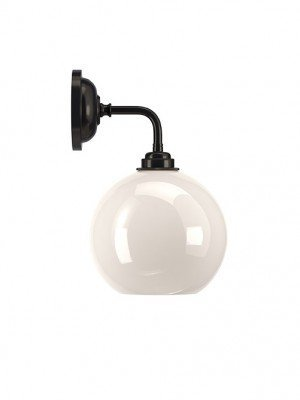 Contemporary Wall Light With White Hereford Glass Globe Shade