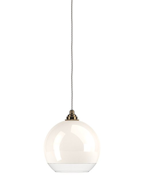 Hereford white glass with clear rim globe pendant light