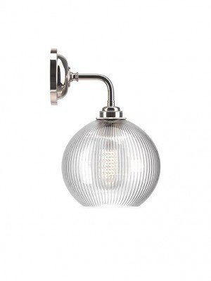 Hereford contemporary wall light with skinny ribbed glass globe shade