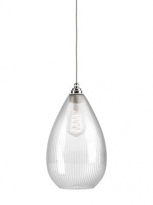 skinny ribbed glass wellington pendant light