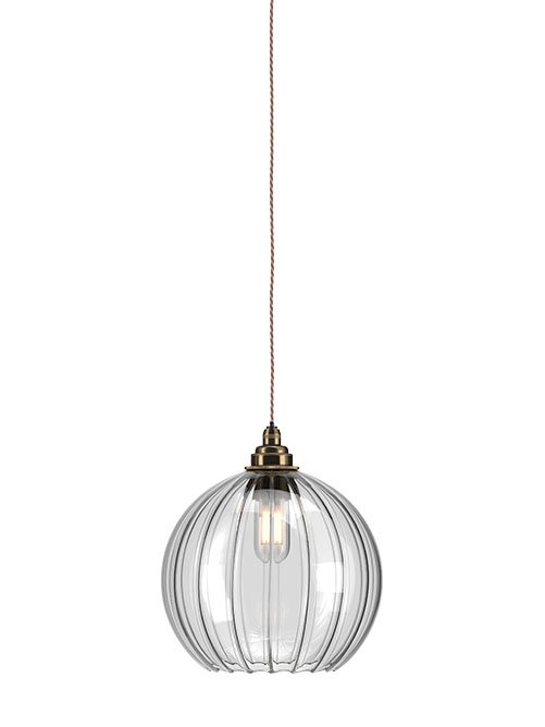 Ribbed Hereford glass globe bathroom pendant light
