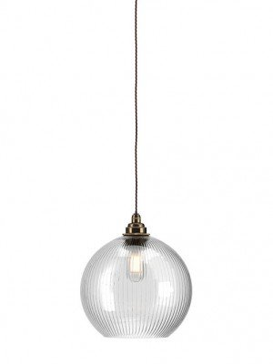 Hereford Skinny Ribbed Glass globe bathroom pendant light
