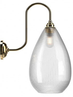Wellington Skinny Ribbed Glass Swan Neck Bathroom Light