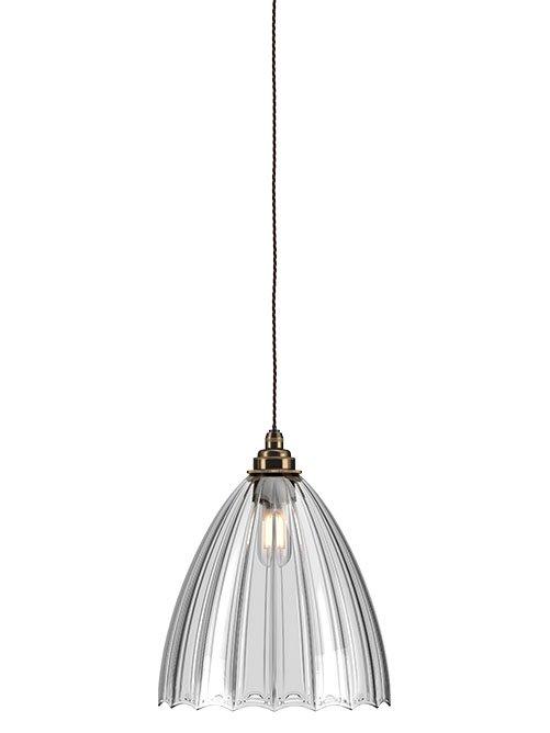 quality design b7b67 09639 Clear Ribbed Glass Bathroom Pendant Ceiling Light - IP44 - Ledbury  (industrial vintage designer retro style)