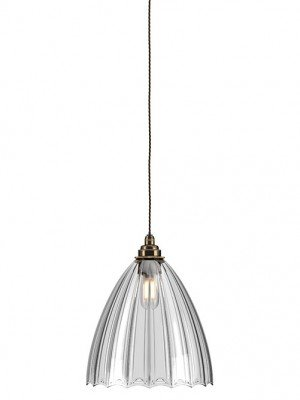 Ribbed Ledbury glass globe bathroom pendant light