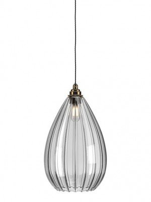Wellington ribbed glass bathroom pendant light
