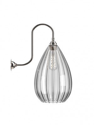 Wellington Ribbed Glass Swan Neck Wall Light