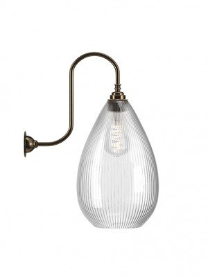 Wellington Skinny Ribbed Glass Swan Neck Wall Light