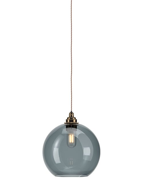 Smoked glass Hereford globe bathroom pendant light