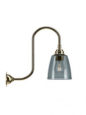 Pixley Smoked Glass Swan Neck Wall Light
