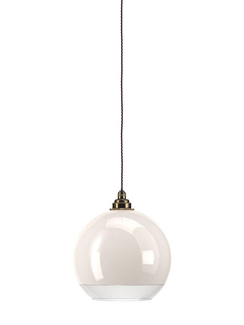 White Hereford glass globe with a clear rim bathroom pendant light