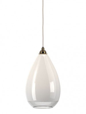 White Wellington with a clear rim bathroom pendant light