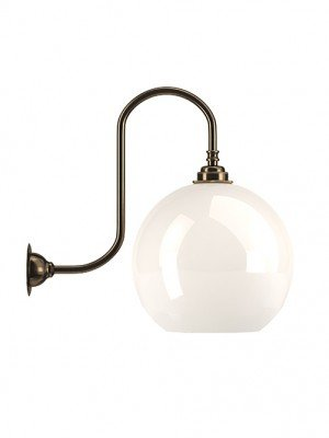 White Hereford Glass Globe Swan Neck Wall Light