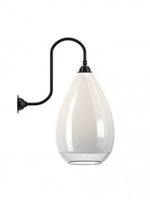 WELLINGTON white glass with clear rim SWAN NECK WALL LIGHT