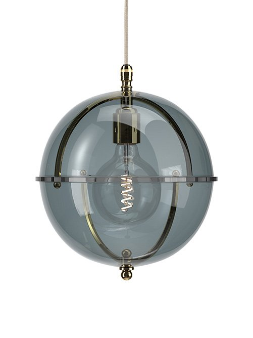 Grafton Glass Globe pendant in Polished Brass