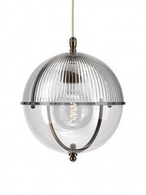 Grafton Glass Globe pendant in Antique Brass