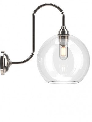 Hereford Clear Glass Globe Swan Neck Bathroom Wall Light