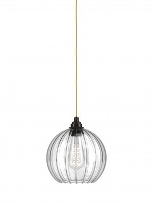 Hereford ribbed glass globe pendant light