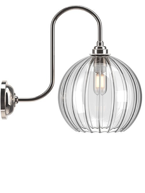 Hereford Ribbed Globe Swan Neck Bathroom Light