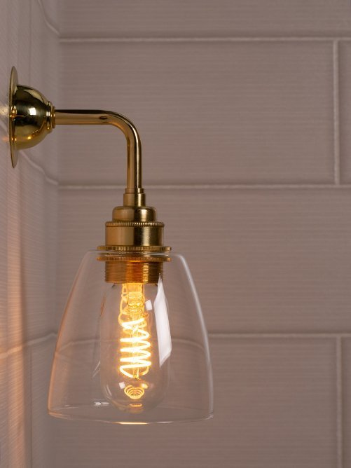 Industrial Wall Light with Modern Clear Glass Pixley Shade